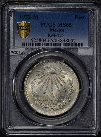 Mexico 1922 Peso silver eagle animal PCGS MS65 PC0166 combine shipping