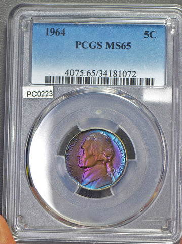 PC0223  1964 Jefferson Nickel PCGS MS65 stunning purple toning! combine shipping