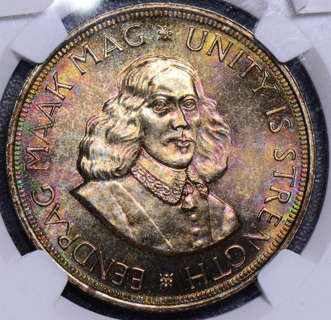 NG0099 South Africa gorgeous toning 1964 50 Cents NGC PL 66  combine shipping