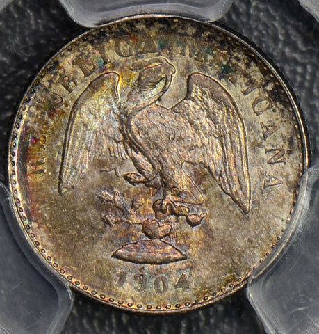 Mexico 1904  5 Centavos silver PCGS MS66 gorgeous toning PC0121 combine shipping