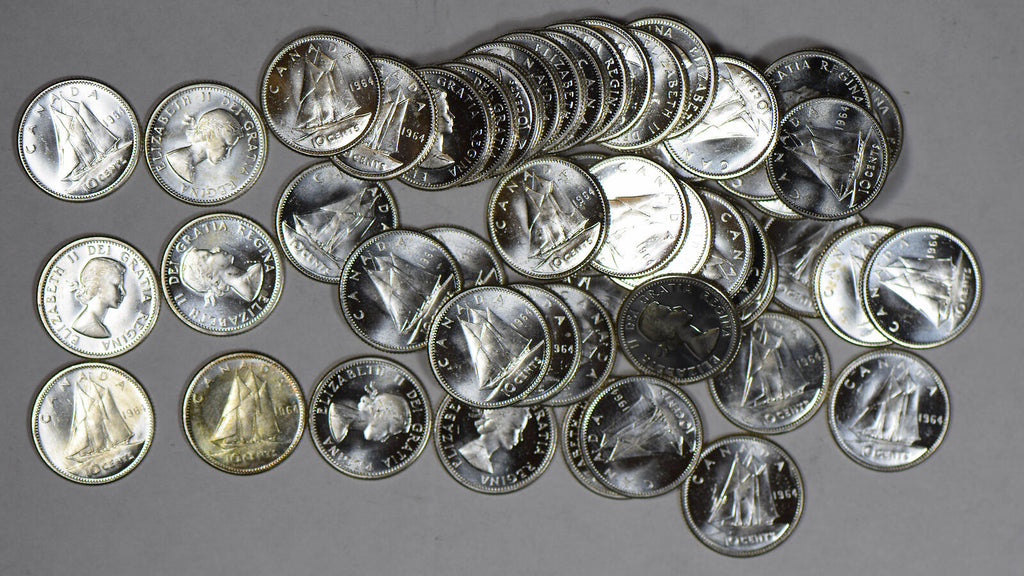 Canada 1964 roll of 50Pcs 10 Cents silver Gem BU prooflike BU0449 combine shippi