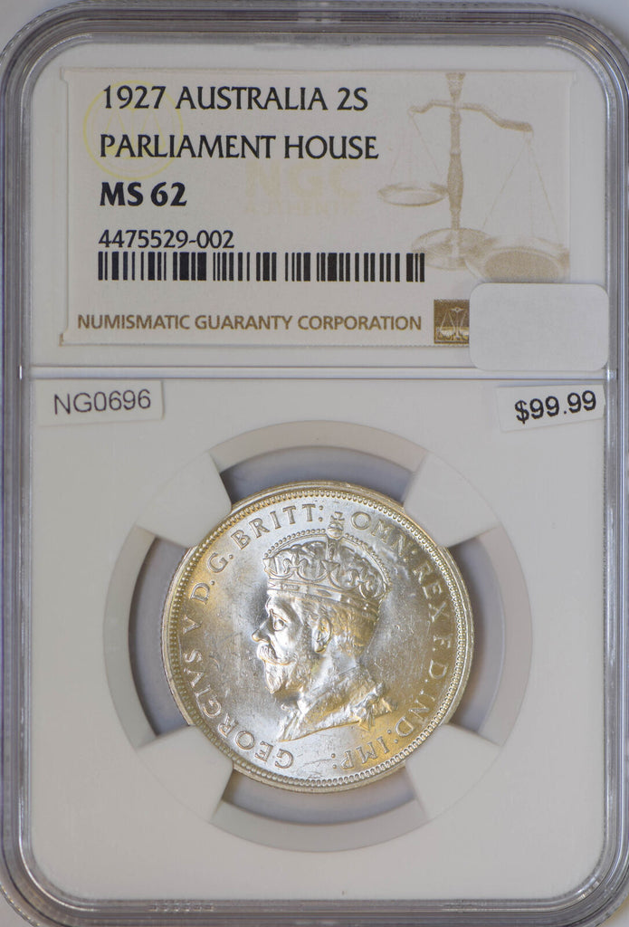 Australia 1927 2 Shillings silver NGC MS62 parliament house NG0696 combine shipp