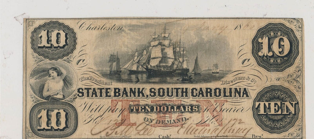 RC0238  1860 state bank of south carolina $10 combine shipping