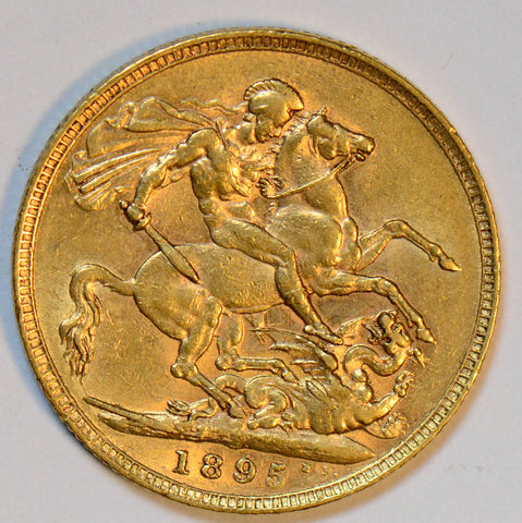 Great Britain 1895 gold sovereign AU GL0048 combine shipping