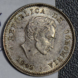 Colombia 1942 10 Centavos silver AU  C0266 combine shipping