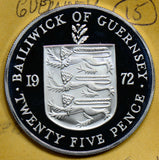 G0030 Guernsey 1972  25 Pence naked woman silver   combine shipping