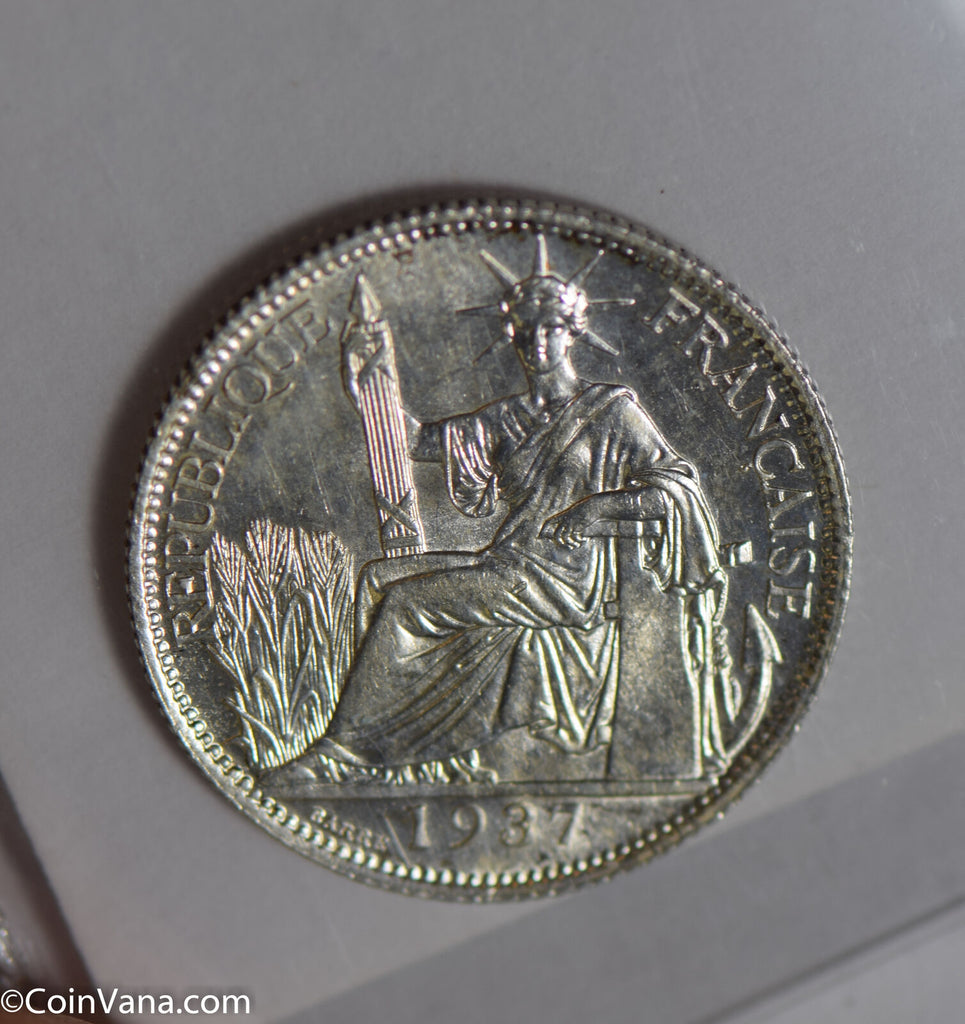 French Indo china 1937 20 Cents silver rare this nice BU0501 combine shipping
