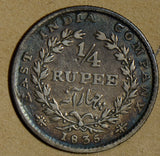British India 1835 1/4 Rupee silver East India Company W I0256 combine shipping
