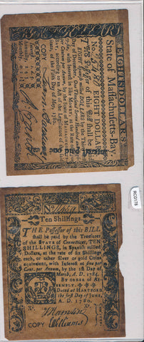 1780 $80/10 Shillings vintage reprint RC0178 combine shipping