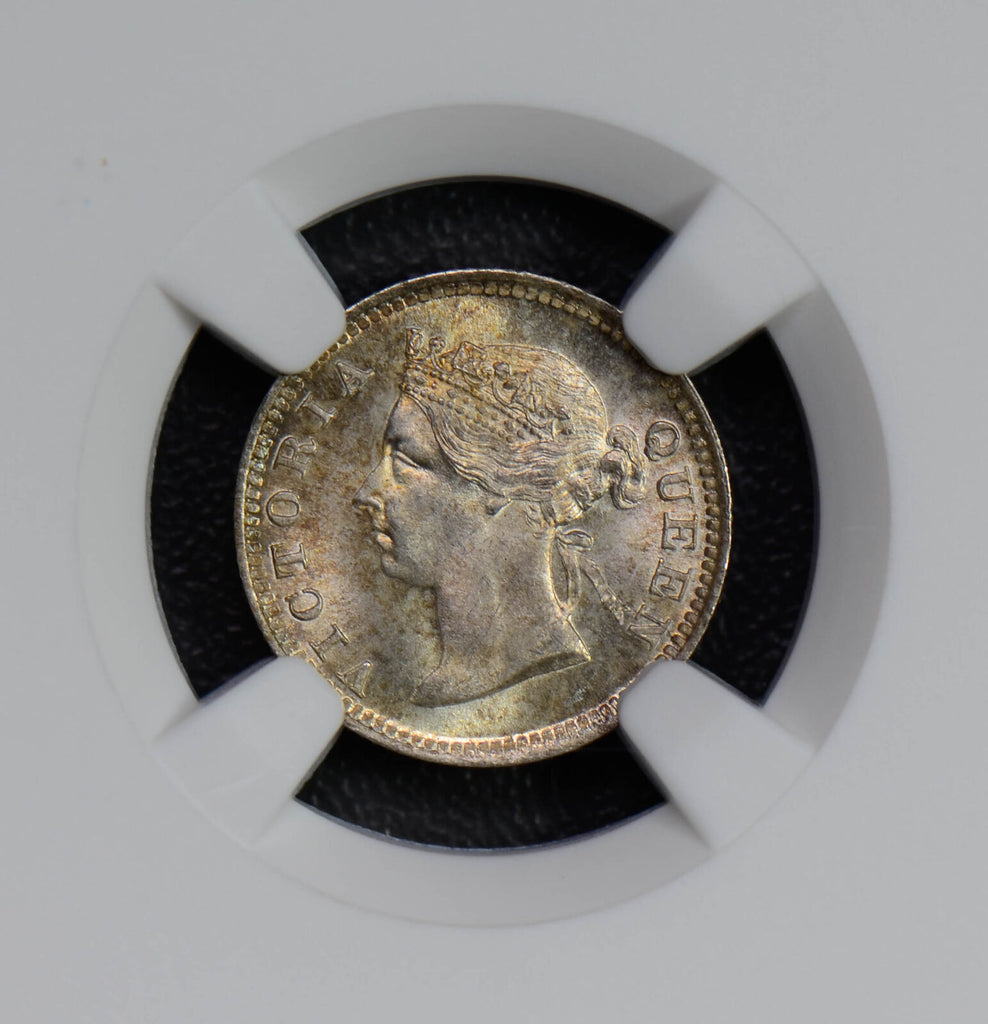 Hong Kong 1899 5 Cents silver NGC MS66 rare in this grade, stunning golden tonin