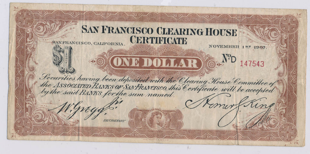 1907 $1  san francisco clearing house certificate, scarce RC0168 combine shippin
