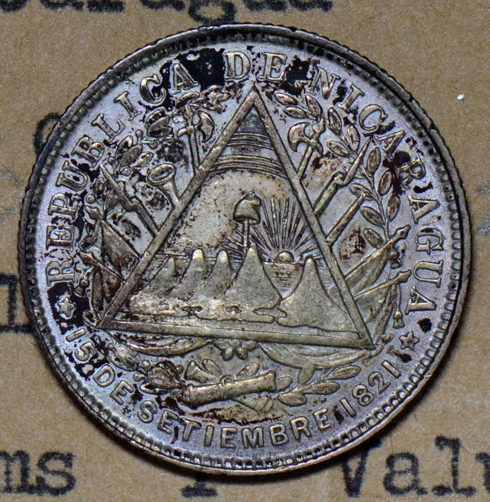 Nicaragua 1887 20 Centavos silver AU rare in this grade N0078 combine shipping