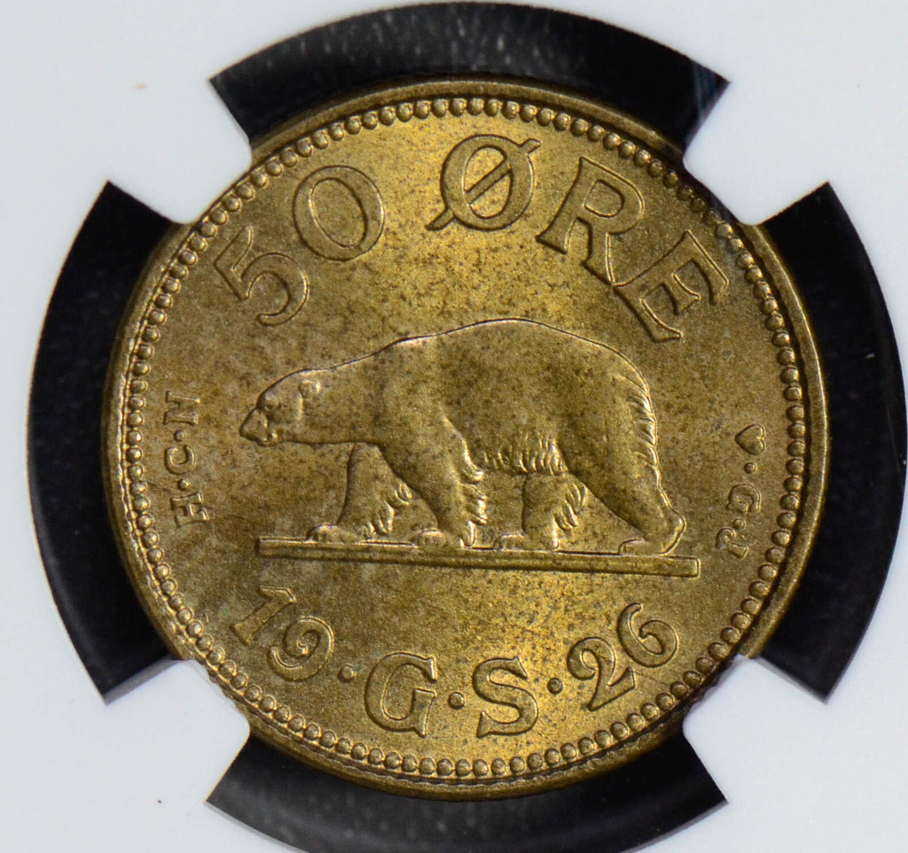 Greenland 1926 50 Ore polar bear animal NGC MS65 NG0535 combine shipping