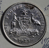 Australia 1923 Florin silver AU cleaned key date AU0059 combine shipping
