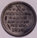 D0041 Danish West Indies 1816  10 Skilling combine shipping