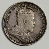 Canada 1910 25 Cents silver  CA0282 combine shipping