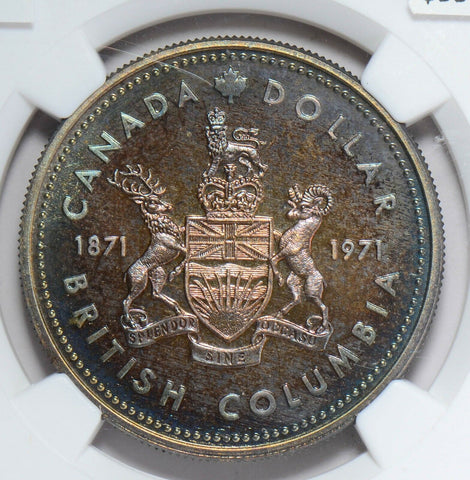 NG0187 Canada 1971  Dollar NGC SP 67 british columbia beautiful green toning ton