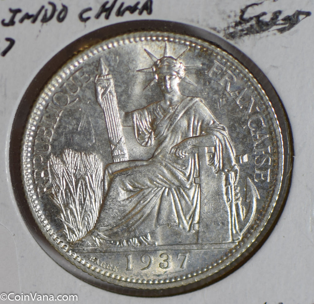 French Indo china 1937 20 Cents silver  F0182 combine shipping