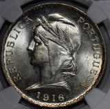 NG0195 Portugal 1916  Escudo NGC MS 63 rare in this grade combine shipping