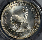 PC0171 South Africa 1955 5 Shillings silver deer animal PCGS PL64 rare prooflike