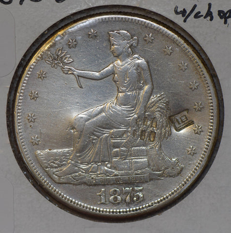 1875 S Trade Dollar silver Chinese chopmark 同 U0079 combine shipping