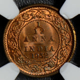British India 1932 C 1/12 Anna NGC MS65RB calcutta mint NG0404 combine shipping