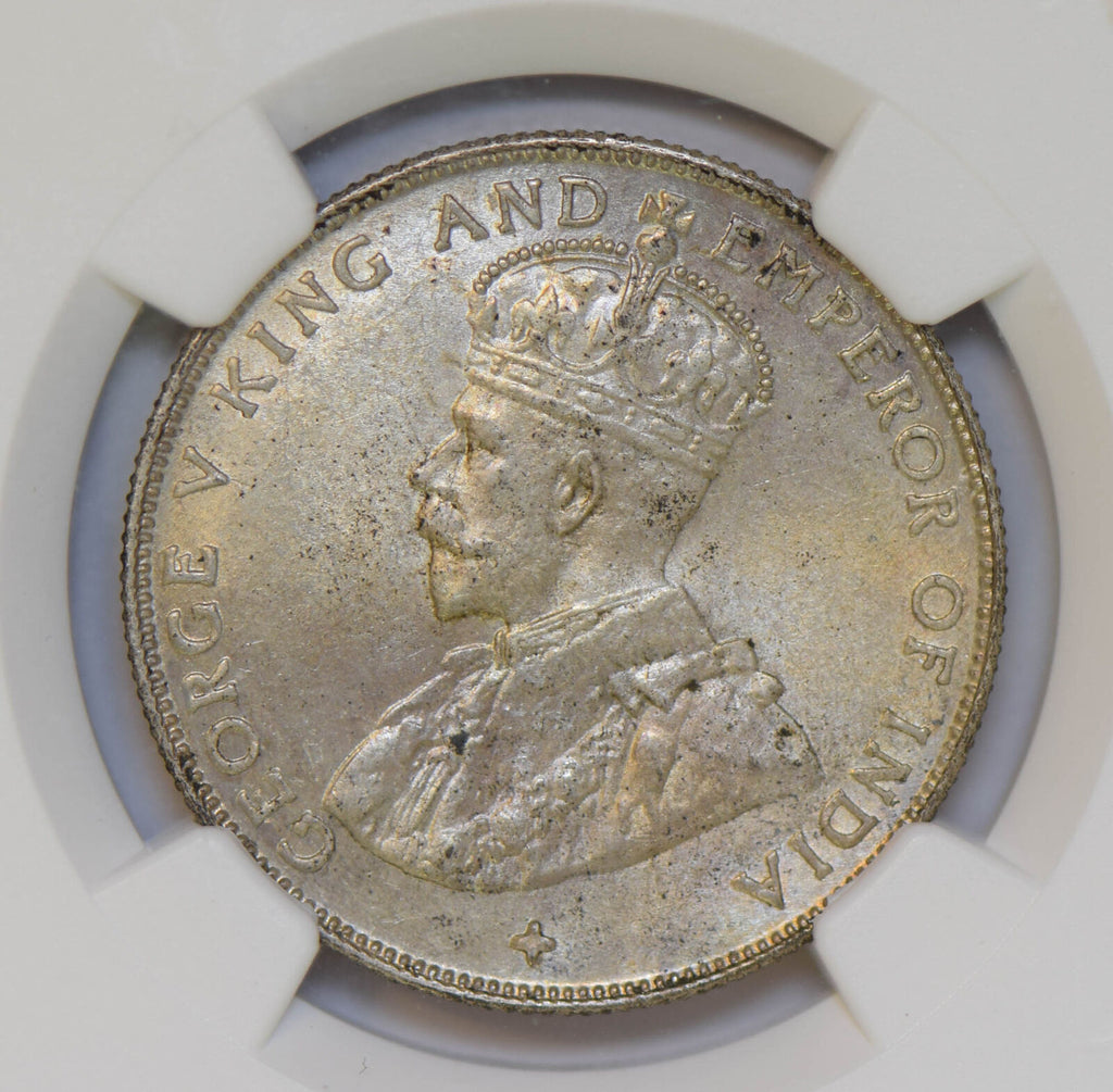 Straits Settlements 1920 50 Cents silver NGC MS63 cross below bust NG0673 combin