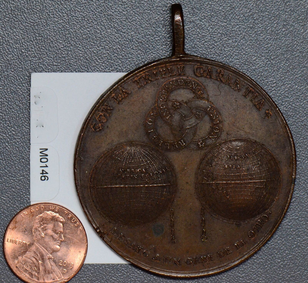 Mexico 1823 Medal UNC independence triple garantia, military segunda epoca M0146