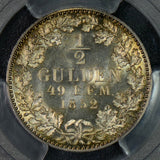 PC0033 1852 A Prussia 1/2 Gulden PCGS MS64 rare in this grade!