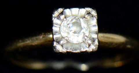 14K YELLOW GOLD .25 CARAT vintage S&D diamond ring