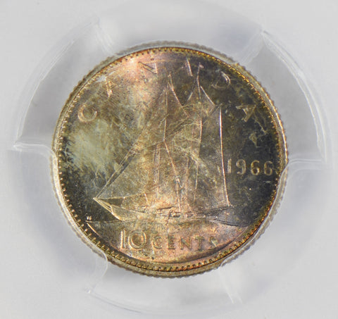 Canada 1966 10 Cents silver PCGS MS65 stunning blue golden toning PC0302 combine