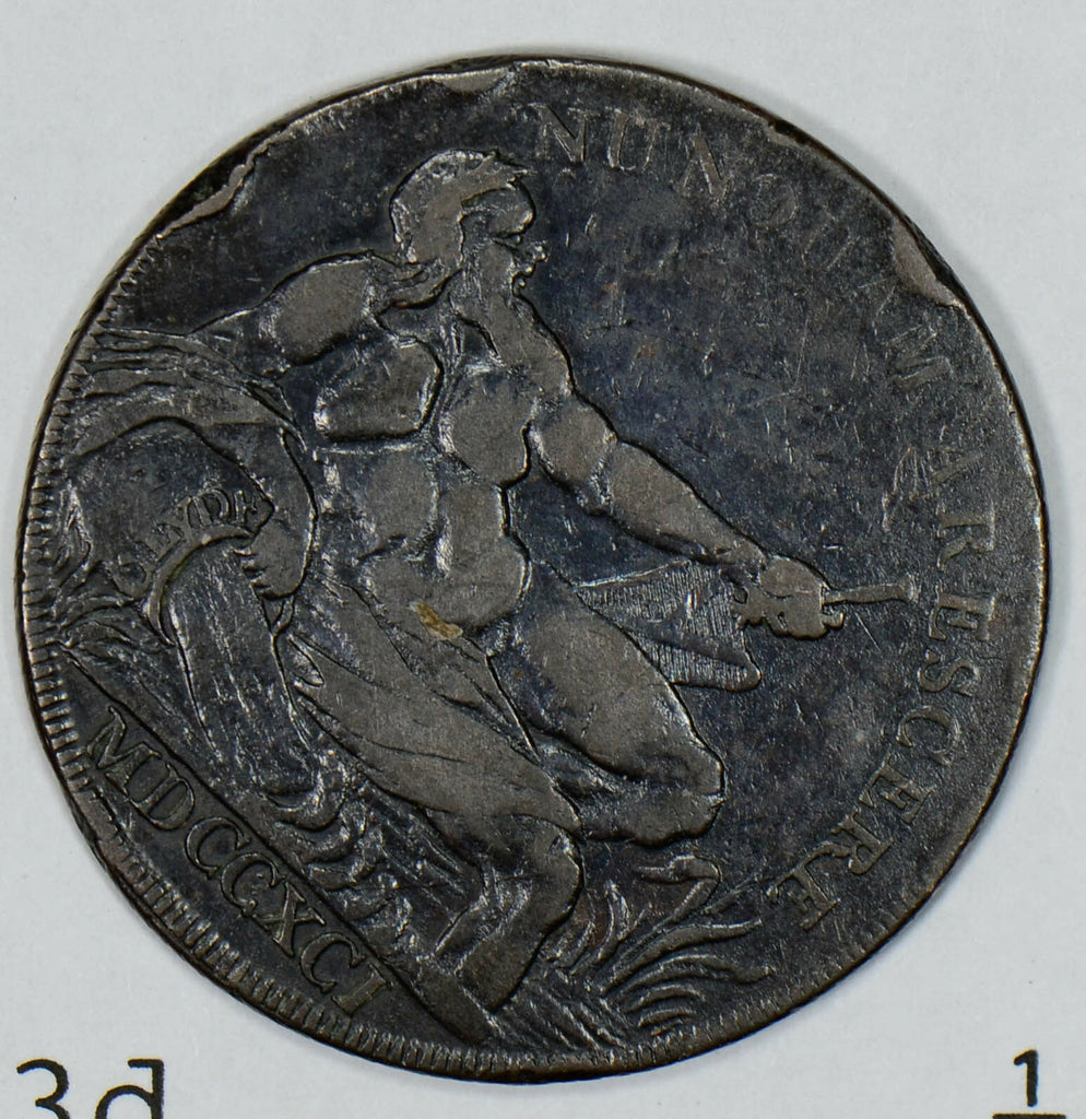 Great Britain 1791  1/2 Penny  half Lanarkshire glasgow DH-3d Man combine shippi