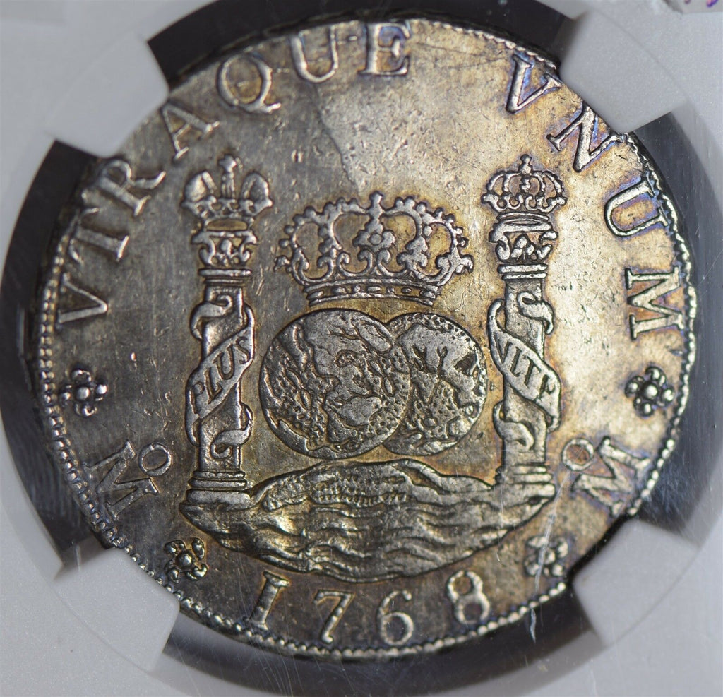 Mexico 1768 MO MF 8 Reales proof like surface NGC AU55 rare this grade NG0679