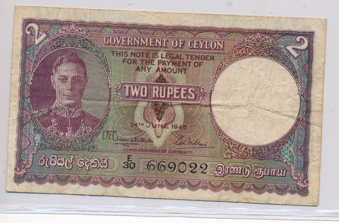RC0133 Ceylon 1945 2 Rupees F combine shipping