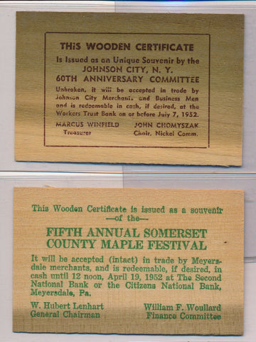 RC0112  1952 wooden certificate  lot of 2 combine shipping