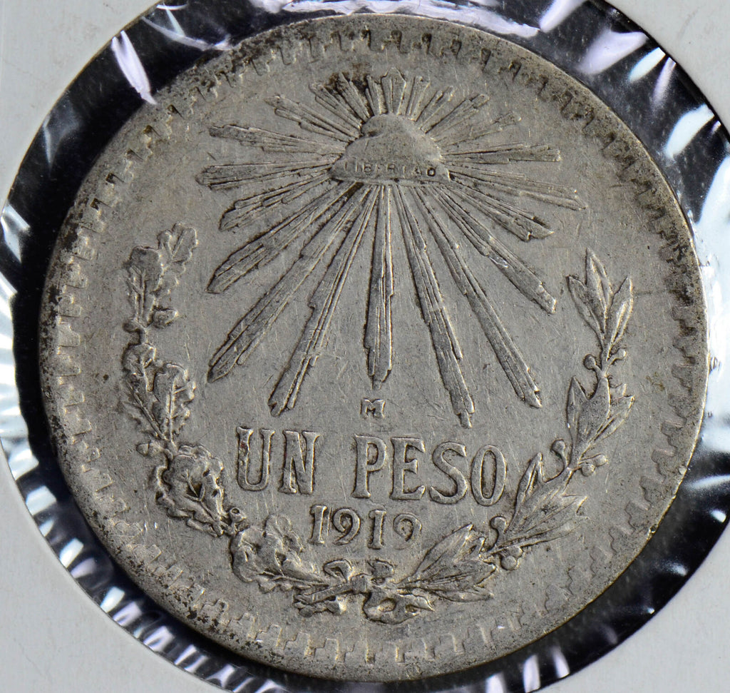 M0174 Mexico 1919 Peso silver cap and rays key date combine shipping