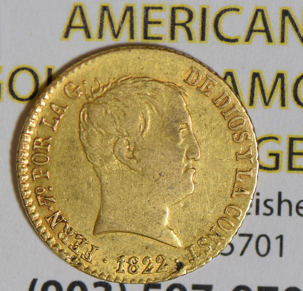 Spain 1822 80 Reales gold  GL0092 combine shipping