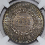 NG0183 Brazil 1860  1000 Reis NGC MS 64 green toning toned combine shipping