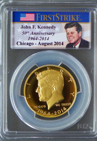 2014 W Kennedy Gold Half Dollar PCGS PR 70 ANA Chicago First Strike COA+OGP