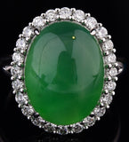 Chinese vintage natural emerald jade jadeite diamond platinum ring