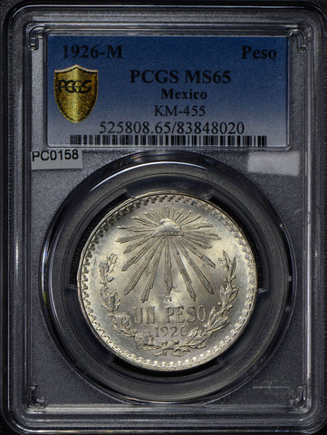 Mexico 1926 Peso silver eagle animal PCGS MS65 rare in this grade PC0158 combine