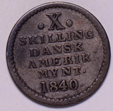 D0030 Danish West Indies 1840  10 Skilling  combine shipping