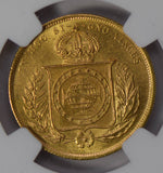 Brazil 1883 10000 Reis gold NGC MS64 rare in this grade! NG0644 combine shipping