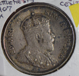 Straits Settlements 1907 H 50 Cents silver luster underneath S0234 combine shipp
