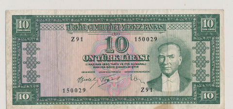 RC0221 Turkey 1952 10 Lira p157 combine shipping
