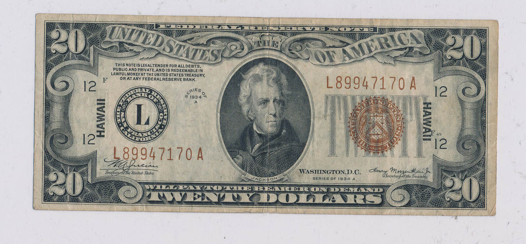 RC0229  1934 A $20 Hawaii federal reserve note  combine shipping