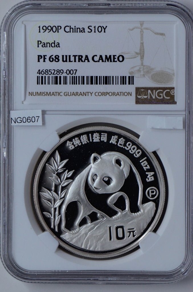 NG0607 China 1990 P 10 Yuan silver NGC PF68 Ultra Cameo proof panda combine ship