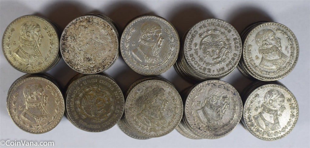 Mexico 1958~64 Peso silver VF~XF 100 pieces BU0509 combine shipping