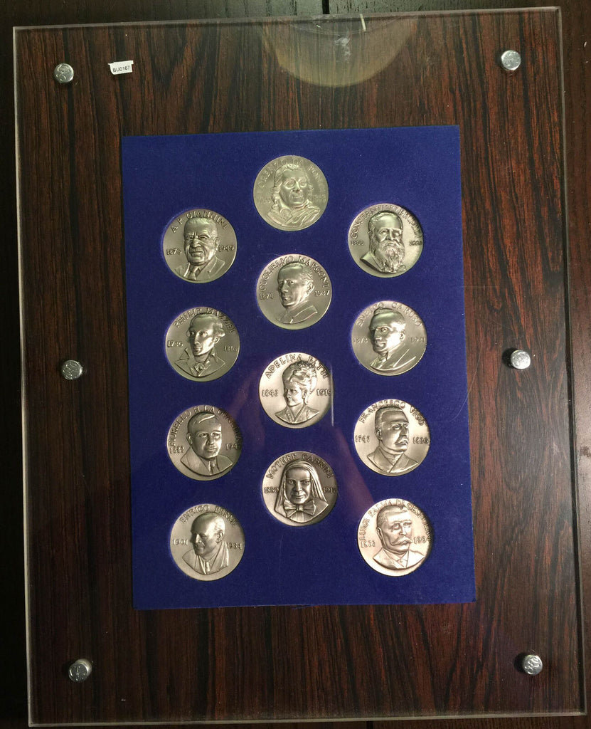 BU0167 Italy  Famous Italian People Medal Set silver in a frame, each medal cont