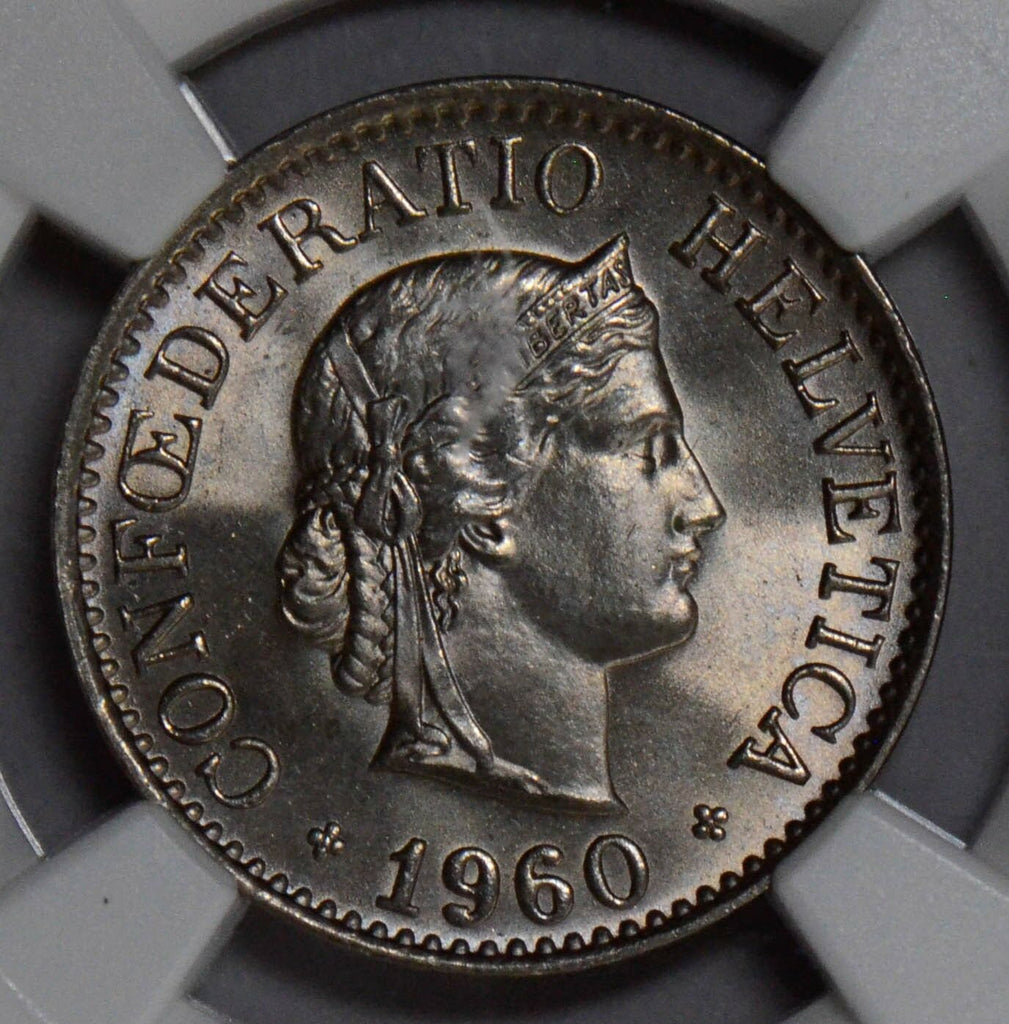 NG0203 Switzerland 1960 B 10 Rappen NGC MS 66 rare in this grade haze on plastic